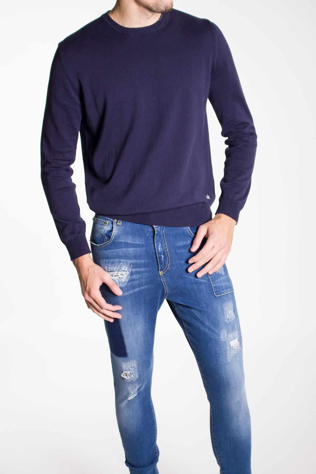 Мъжки памучен пуловер светло син цвят