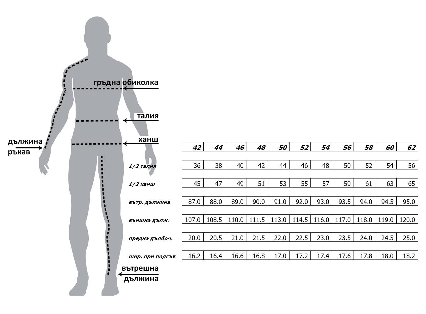 Мъжки класически панталон  size-table MONNI