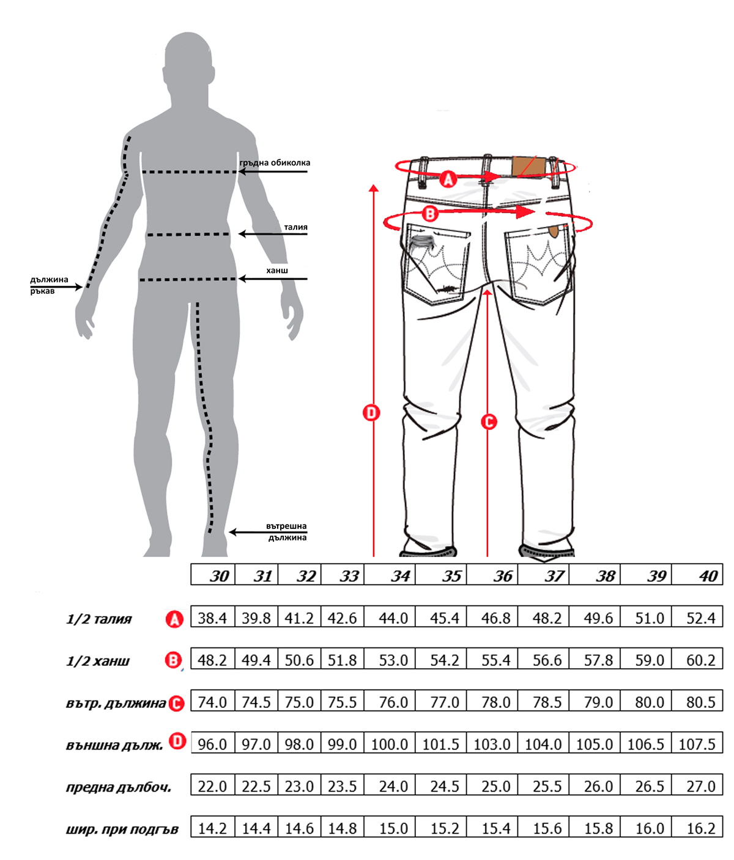 Класически мъжки дънки size-table MONNI